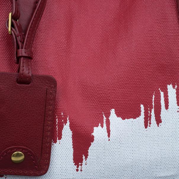 Saint Laurent Paris Red and White Canvas Raspail Tote