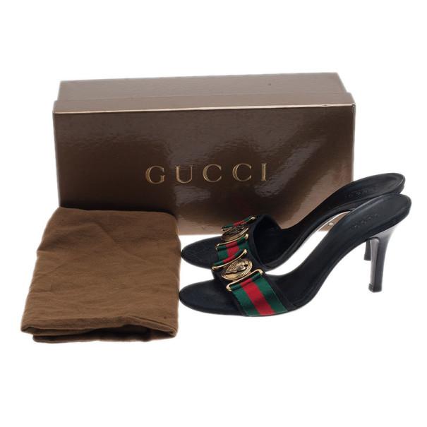 Gucci Black Guccissima Web Detail Hysteria Slides 35.5