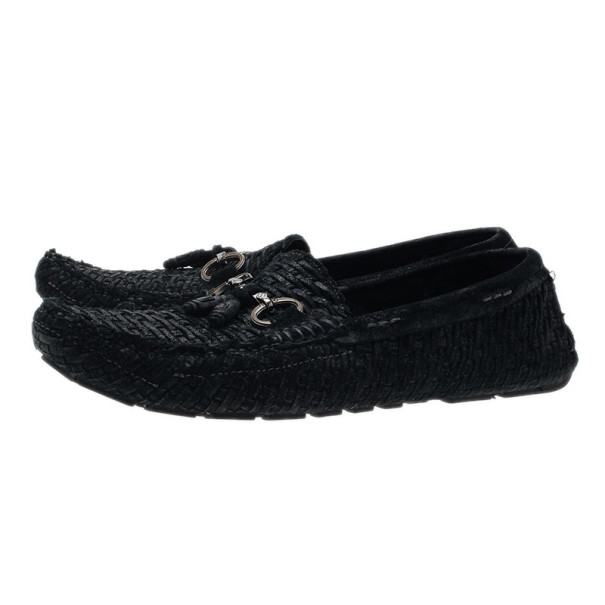 Dolce and Gabbana Black Woven Suede Loafers Size 42