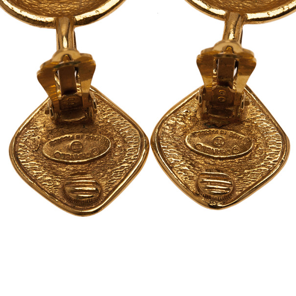 Chanel CC Quilted Gold-Tone Drop Earrings