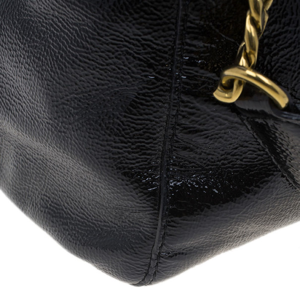 Jimmy Choo Black Patent Leather Quilted Pocket Camille Tote