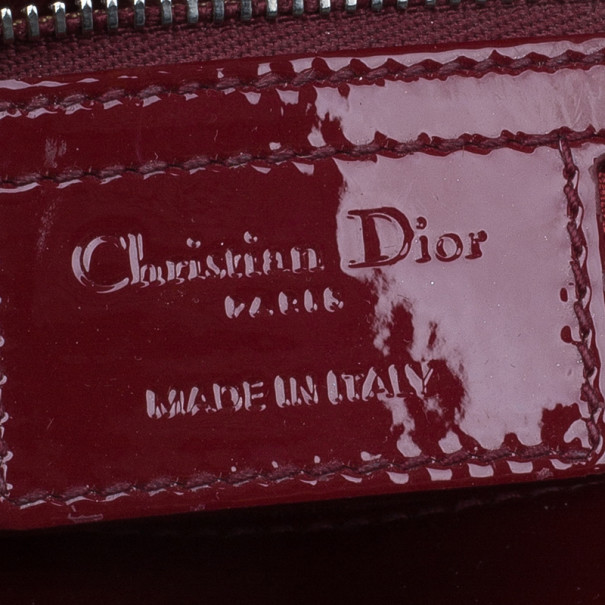 Dior Red Patent Large Lady Dior Tote