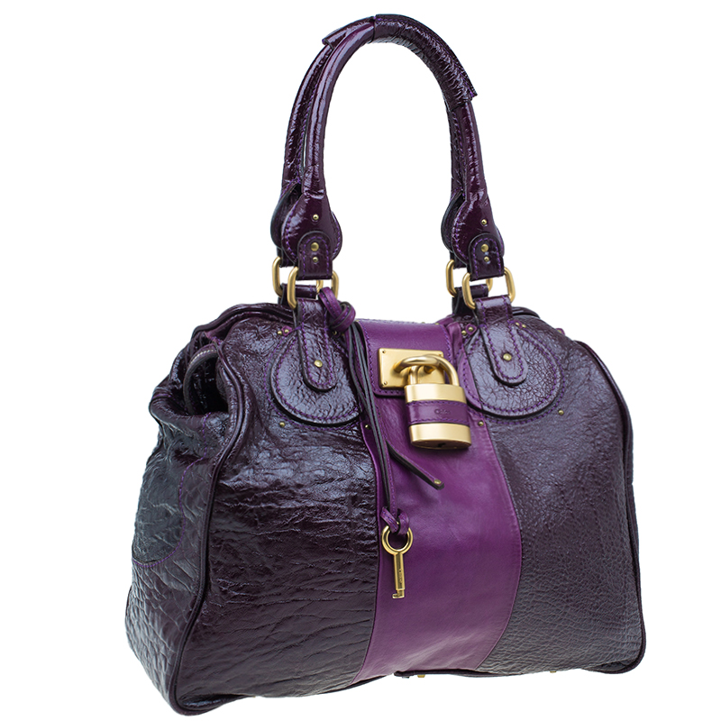 Chloe Dark Purple Patent Leather Paddington Tote