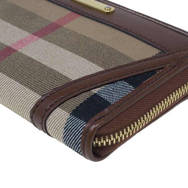 Burberry Brown Check Canvas Ziggy Zip Continental Wallet