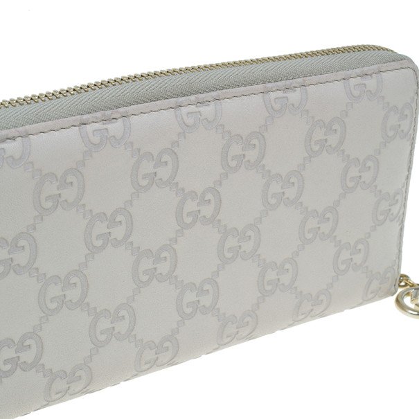 Gucci Beige Guccissima Leather Long Zippy Wallet