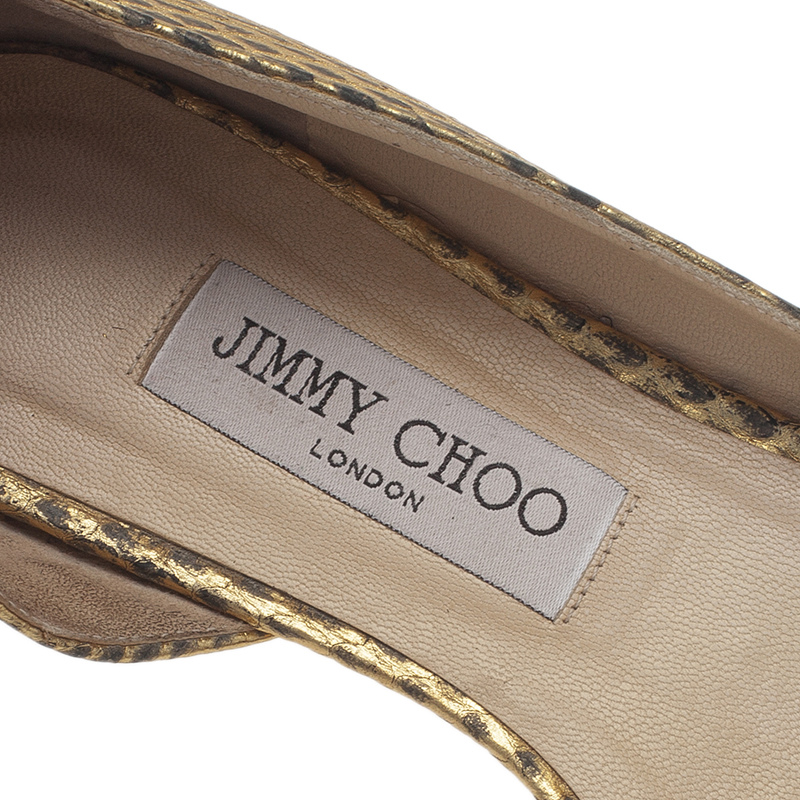 Jimmy Choo Metallic Gold Embossed Leather D'Orsay Pointed Toe Flats Size 39.5
