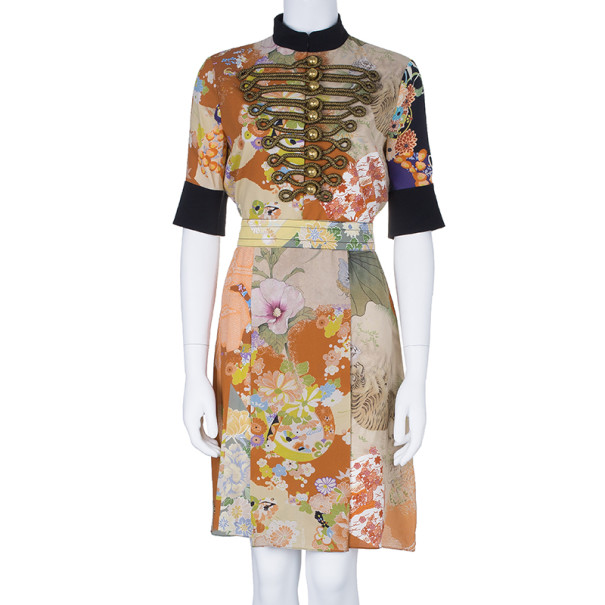 Gucci Military Detail Floral Print Dress M