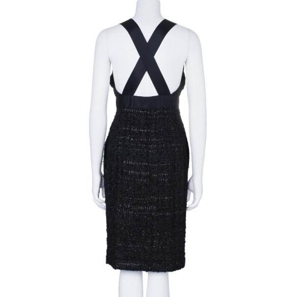Chanel Black Tweed Metallic Dress M