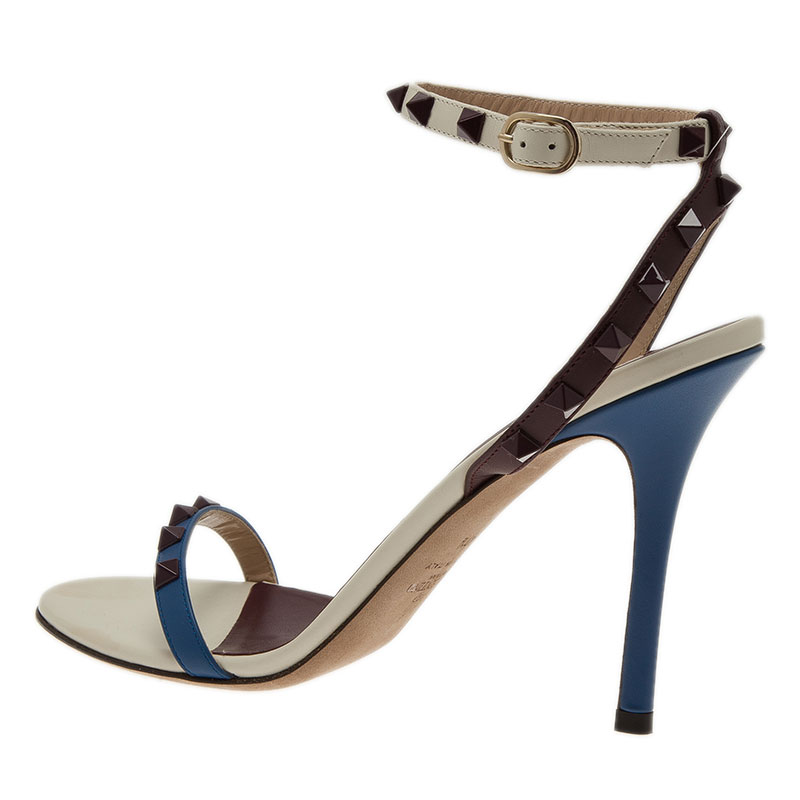 Valentino Tri Color Leather Rockstud Ankle Strap Sandals Size 40.5