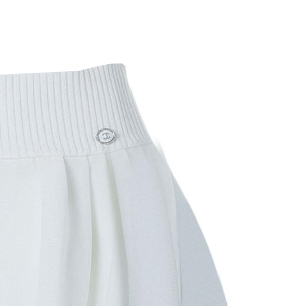 Chanel White Flounce High-Waist Skirt M