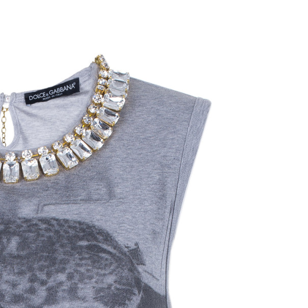 Dolce and Gabbana Leopard Neck Embellished Tank Top M
