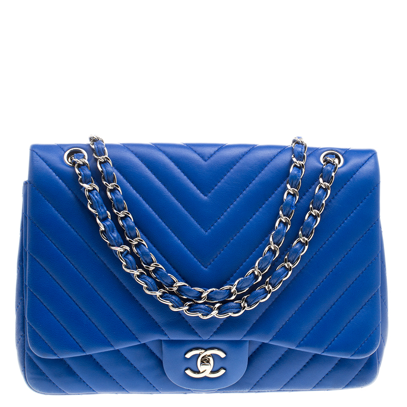 Chanel Blue Chevron Quilted Leather Jumbo Classic Flap Bag Nextprev Prevnext