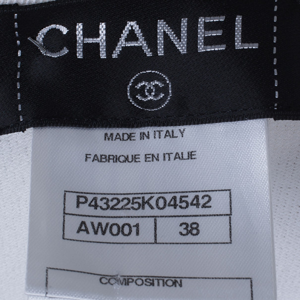 Chanel White Zip Front Knit Jacket M