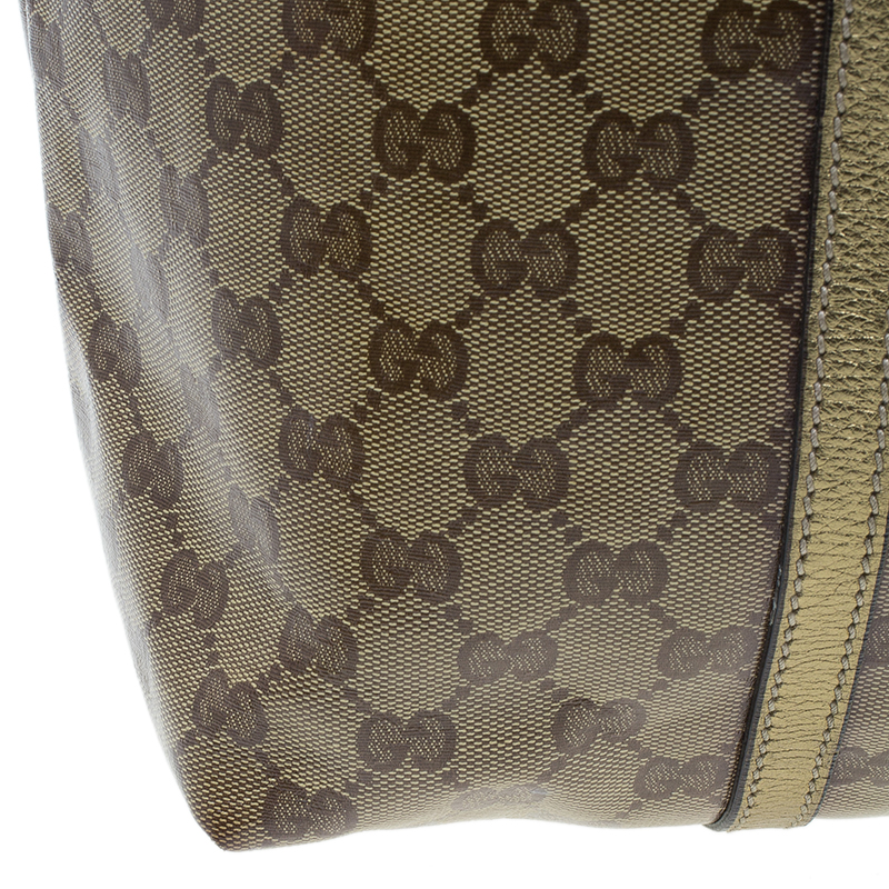 Gucci Gold GG Crystal Coated Canvas Large Joy Tote Bag