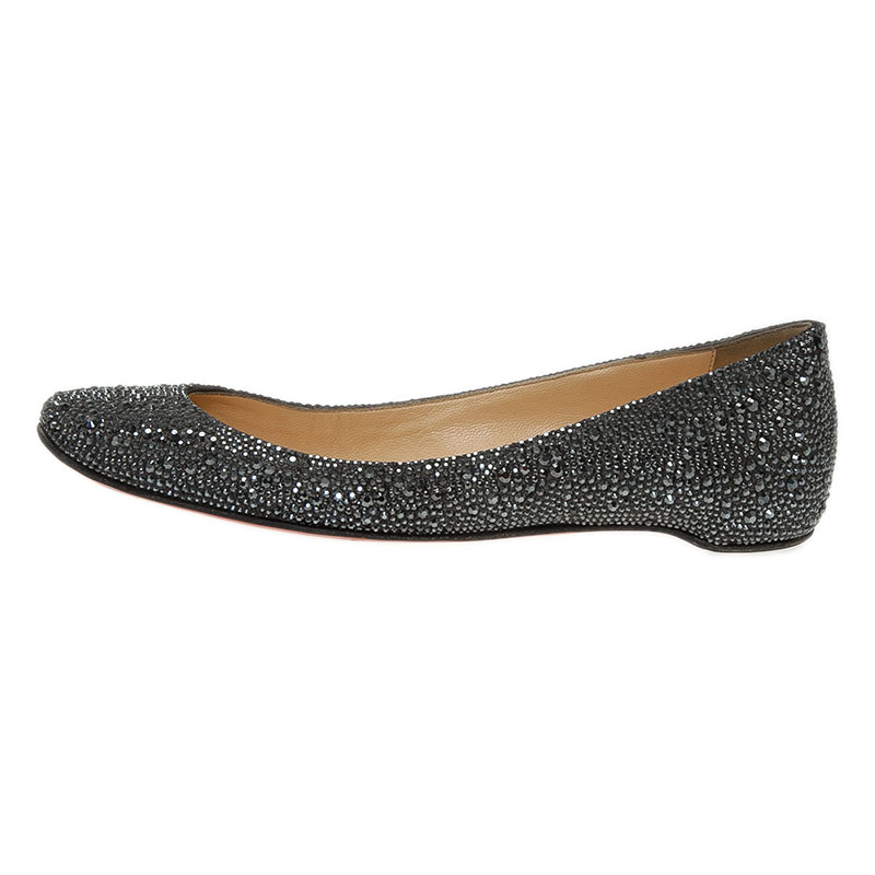 Christian Louboutin Black Strass Leather Gozul Ballet Flats Size 39