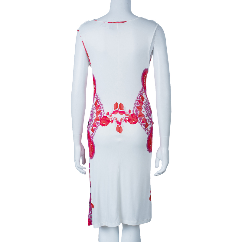 Class by Roberto Cavalli White and Pink Printed Sleeveless Dress M