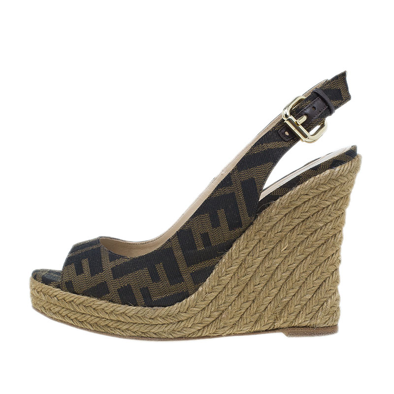 Fendi Brown Zucca Canvas Espadrille Slingback Wedges Size 35.5