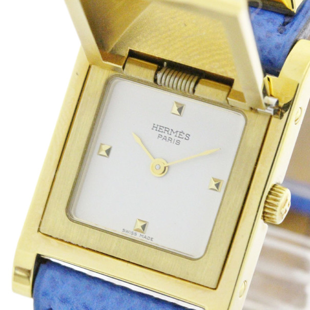 Hermes White Gold-Plated Medor Women's Wristwatch 23MM