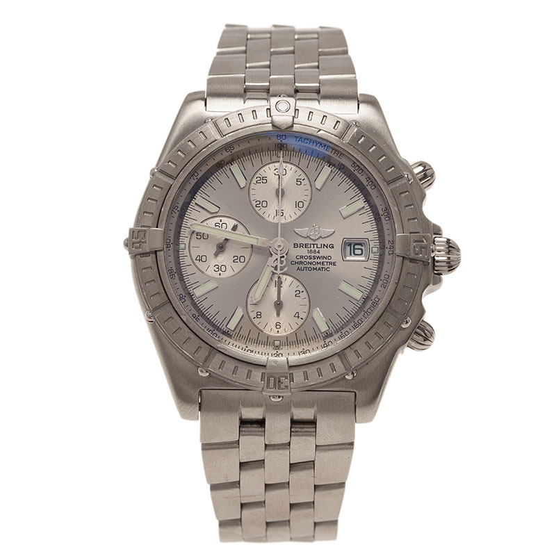 Breitling Silver Stainless Steel Crosswind Men's Watches 44MM