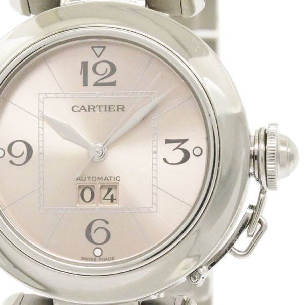 Cartier Creme Stainless Steel Pasha C Big Date Unisex Wristwatch 35MM
