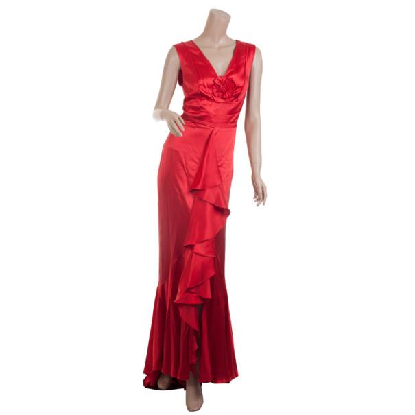 Carolina Herrera Red Silk Gown M