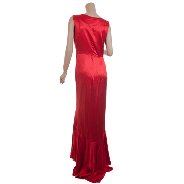 Carolina Herrera Red Silk Gown M