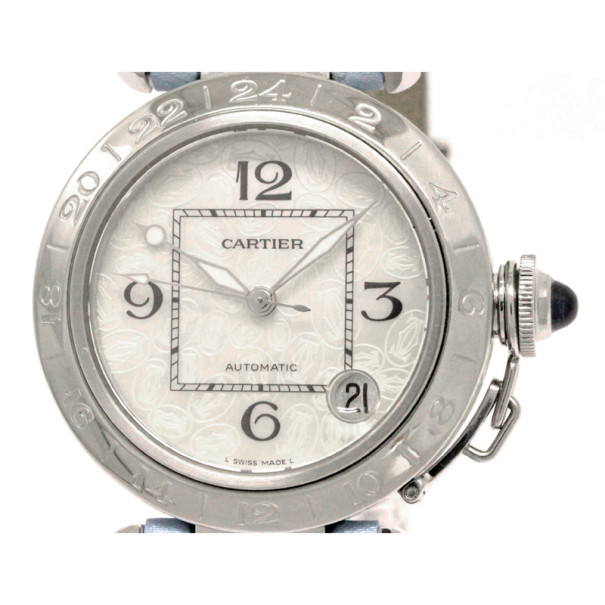 Cartier White Stainless Steel Pasha C GMT 2004 Christmas Limited Women's Watch 35MM