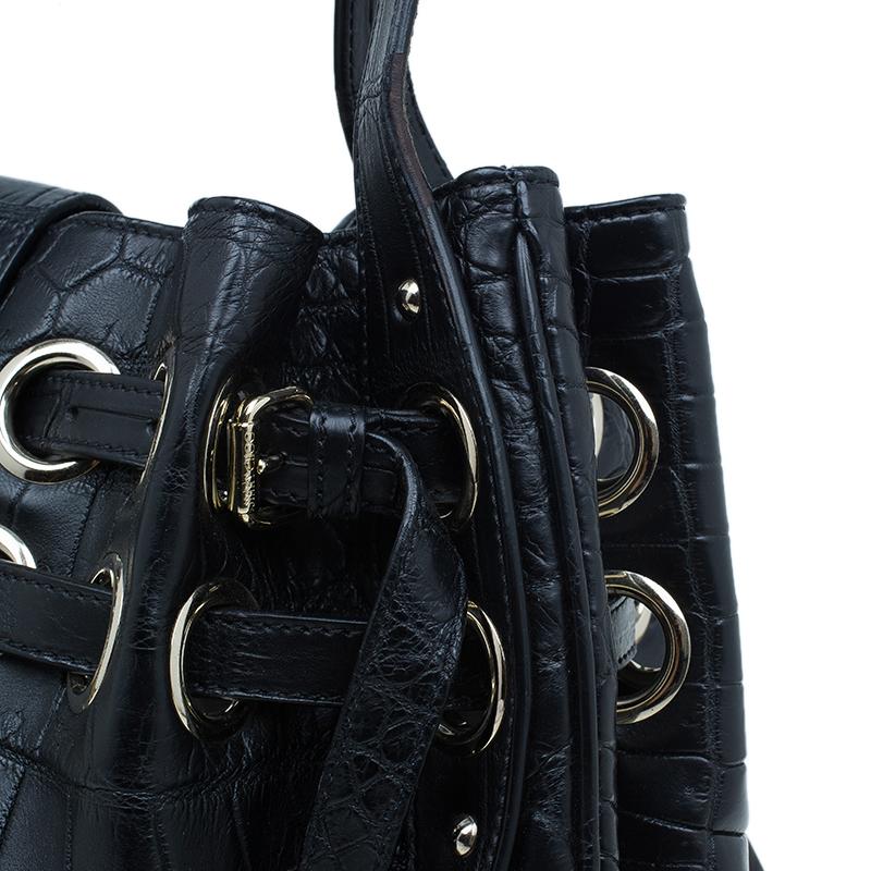 Jimmy Choo Black Croc Embossed Ramona Hobo Bag