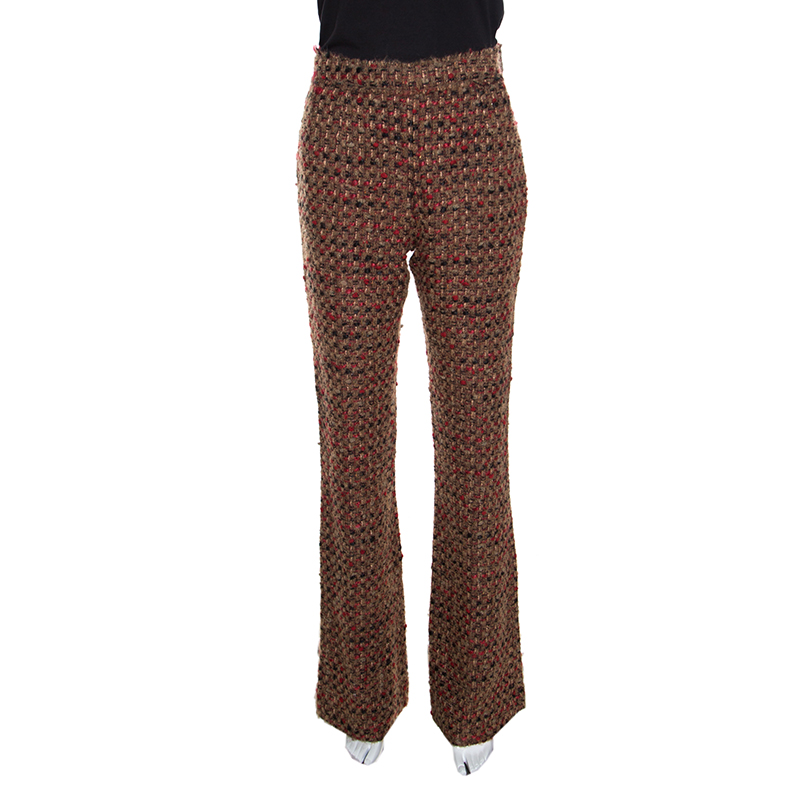 Купить со скидкой Dolce and Gabbana Brown Textured Wool Blend High Rise Wide Leg Trousers S