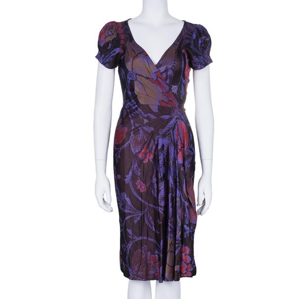 Diane Von Furstenberg Burgundy Floral Print Wrap Dress M