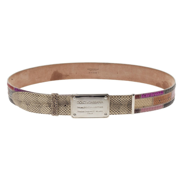 Dolce and Gabbana Python Patchwork Logo Plaque Belt 90CM