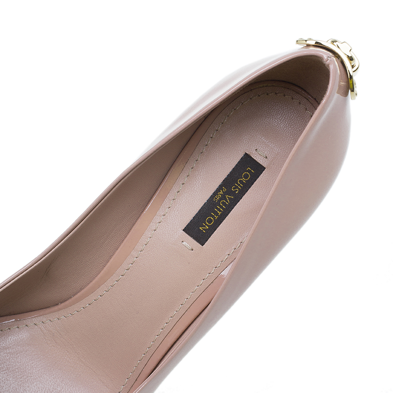 Louis Vuitton Blush Pink Patent Oh Really! Peep Toe Pumps Size 40