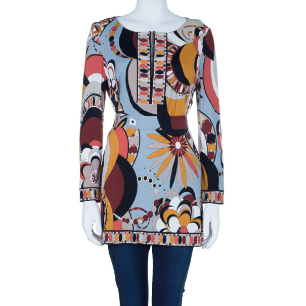 Emilio Pucci Orange Multicolor Belted Tunic Top L