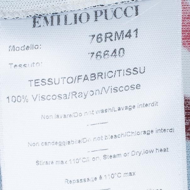 Emilio Pucci Orange Multicolor Belted Tunic Top L