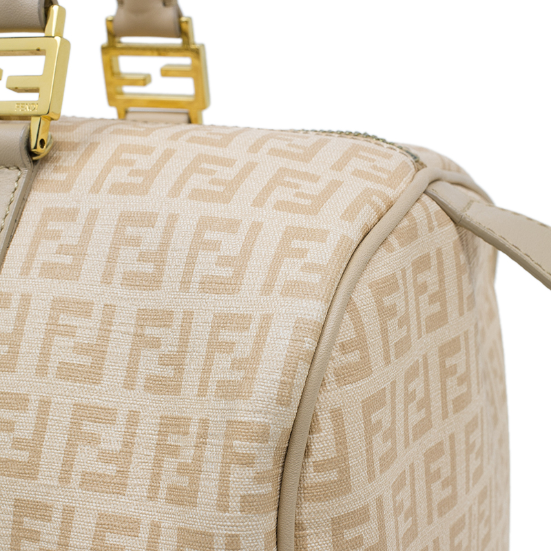 Fendi Beige Zucchino Coated Canvas Forever Bauletto Boston Bag