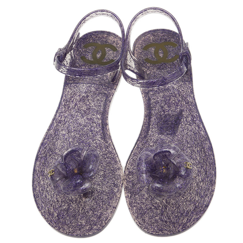 Chanel Purple Jelly Camellia Flower Sandals Size 39