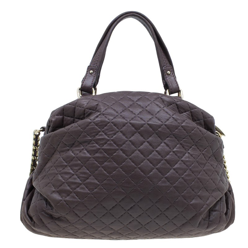 Carolina Herrera Brown Quilted Leather Chain Satchel Bag