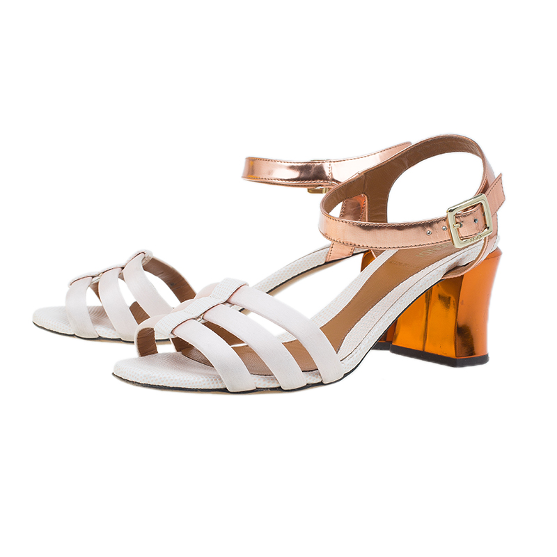 Fendi Cream Leather Ankle Strap Block Heel Sandals Size 39