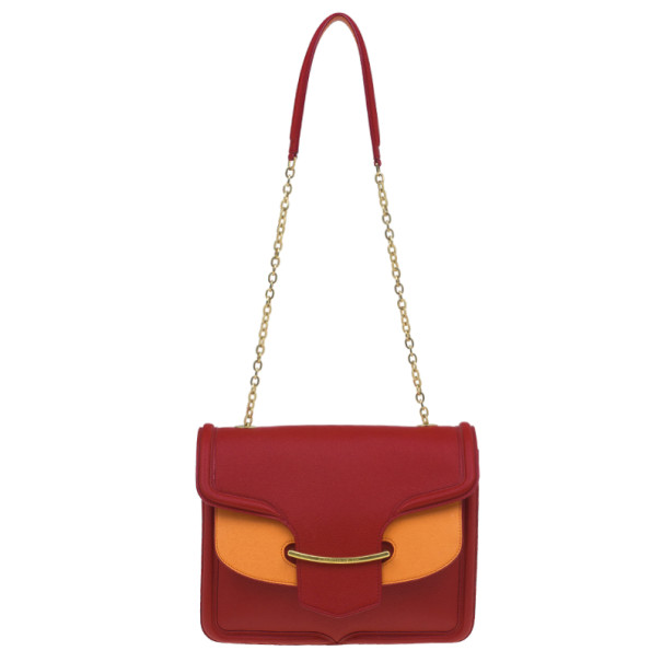 Alexander McQueen Red and Orange Leather Heroine Chain Satchel