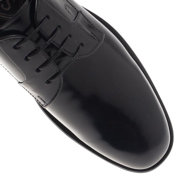 Tod's Black Glazed Leather Oxfords Size 37