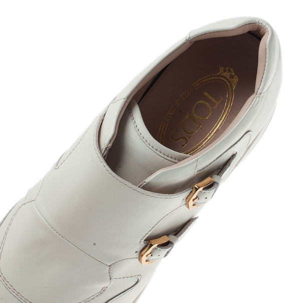 Tod's White Leather Buckle Detail Sneakers Size 39.5