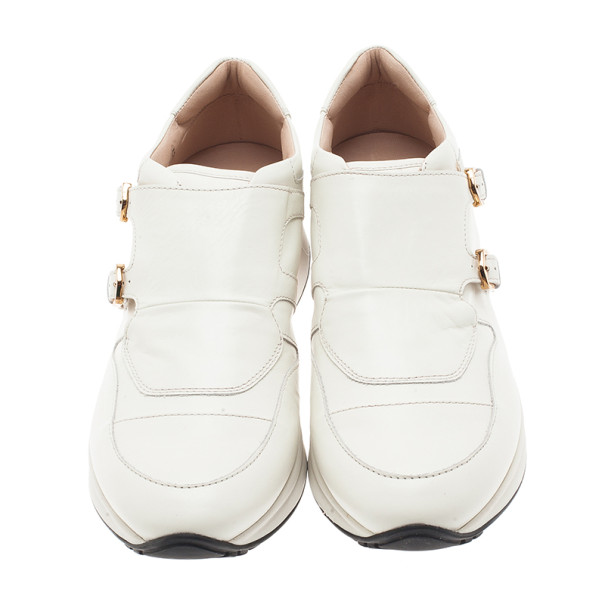 Tod's White Leather Buckle Detail Sneakers Size 39