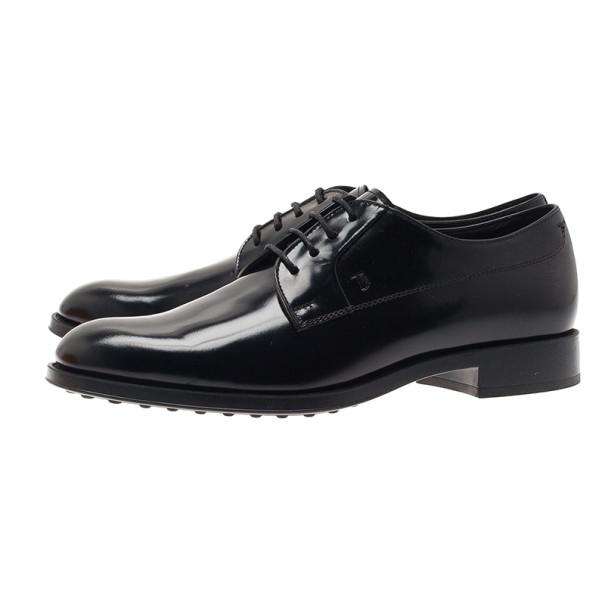Tod's Black Glazed Leather Oxfords Size 36