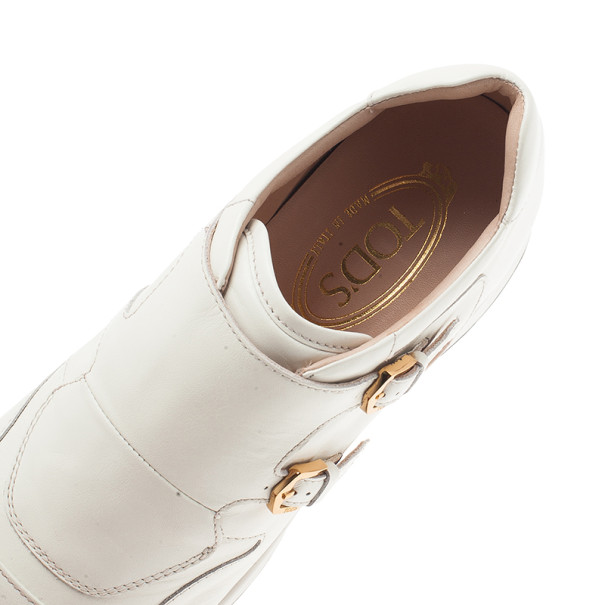 Tod's White Leather Buckle Detail Sneakers Size 38