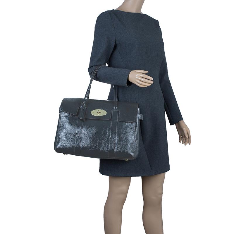 Mulberry Dark Grey Patent Leather Bayswater Satchel Bag