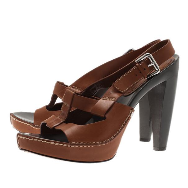 Celine Brown Leather Slingback Sandals Size 40