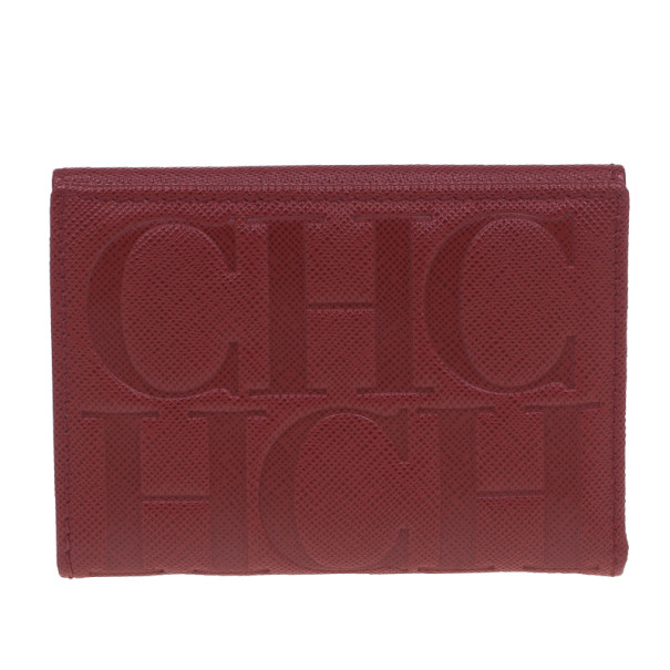 Carolina Herrera Red Monogram Leather Card Holder