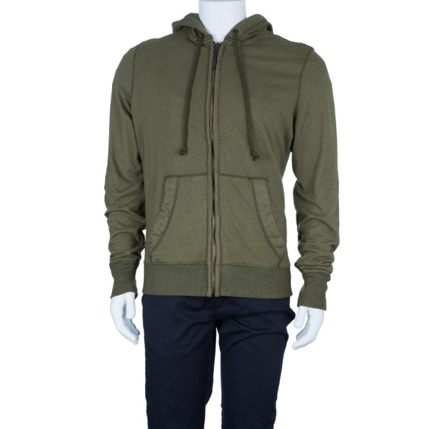 Burberry Men's Green Zip Front Hoodie Jacket L