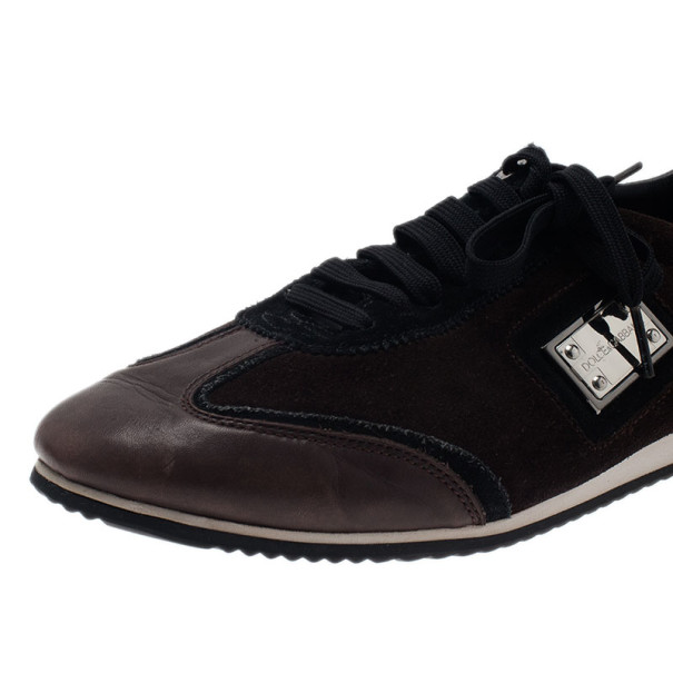 Dolce and Gabbana Brown Suede and Leather Logo Plaque Sneakers Size 42
