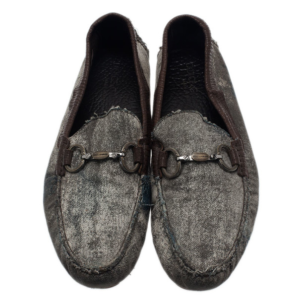 Dolce and Gabbana Grey and Brown Canvas Horsebit Loafers Size 42